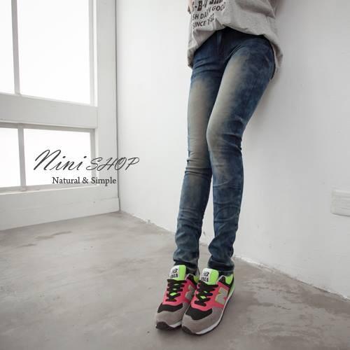 實拍 (Nini shop 中大 )復古渲染刷色 牛仔褲2L