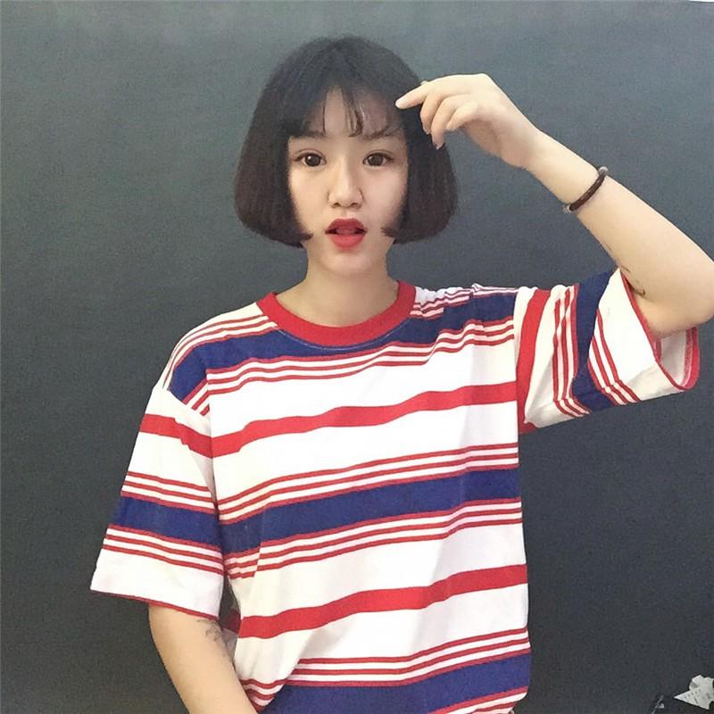 NO 2 原創 2016  簡約寬松彩色條紋T 恤女短袖大碼純棉學生體恤潮