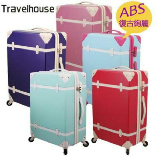 天使(賣家宅配 )~Travelhouse ~ 復古箱20 24 吋ABS 防刮旅行箱行李
