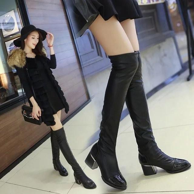 ✚壹號店│女鞋新品過膝靴女靴子中高跟粗跟長筒靴騎士靴高筒彈力靴瘦腿靴女鞋