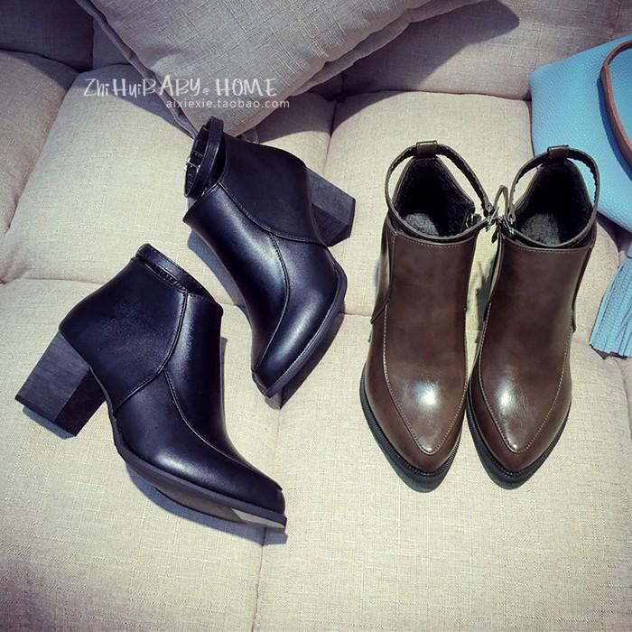 一字扣粗跟短靴女春秋單靴裸靴高跟馬丁靴尖頭百搭踝靴短筒靴靴子裸靴短靴長靴雨靴雪靴過膝靴短靴