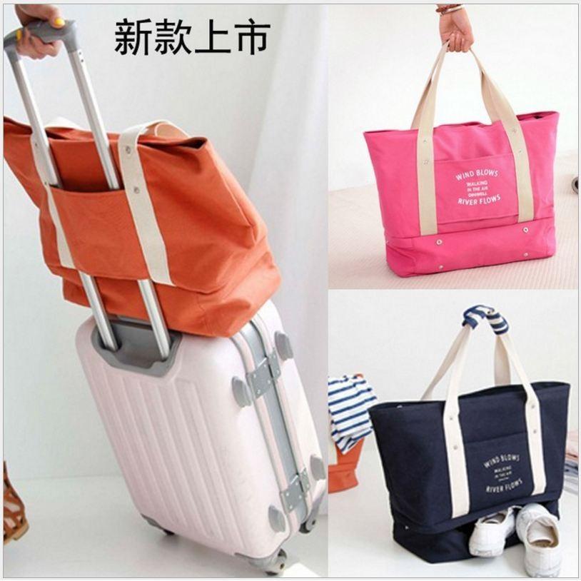愛妮 ~帆布旅行收納袋行李袋大容量單肩包行李箱收納媽咪包大包包