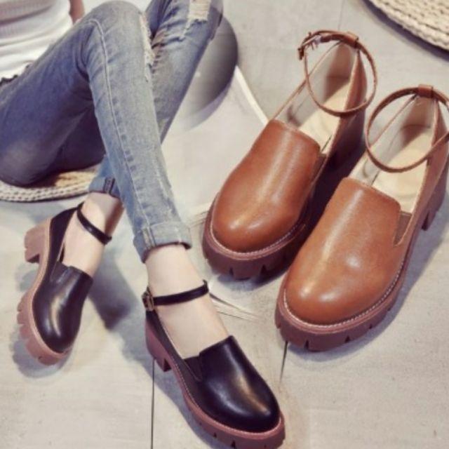 復古簡約英倫風圓頭百搭一字釦繫帶粗跟鞋鬆糕鞋厚底鞋