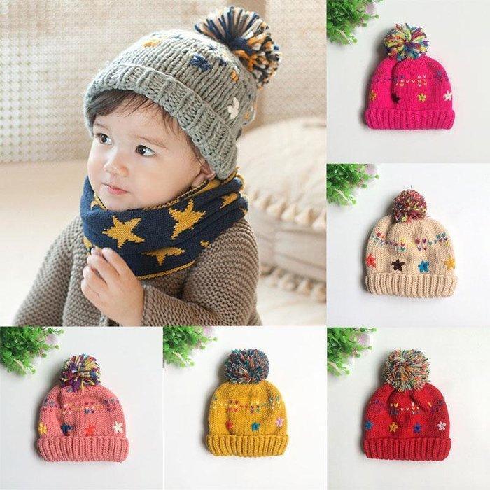 帽子冬款彩色雪花加絨毛帽寶寶帽球球帽護耳帽保暖帽嬰兒帽兒童帽