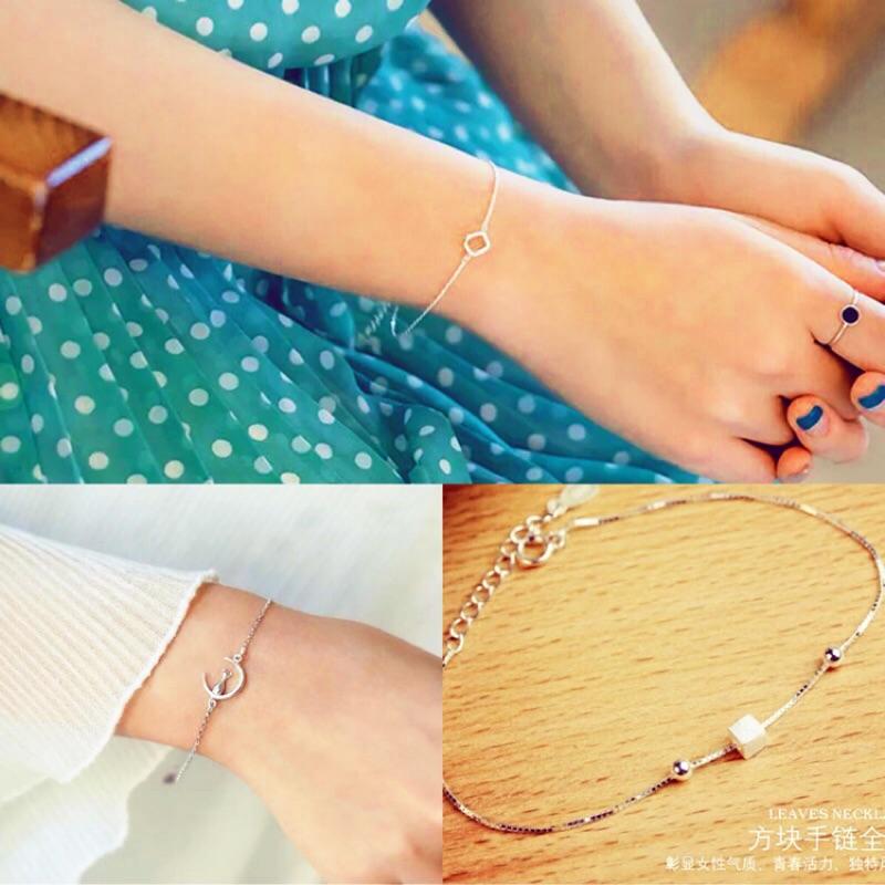手鍊三種款式可挑選純銀925 七夕情人節 女朋友最愛銀飾手鍊、腳鍊~秀腿的季節, 飾品