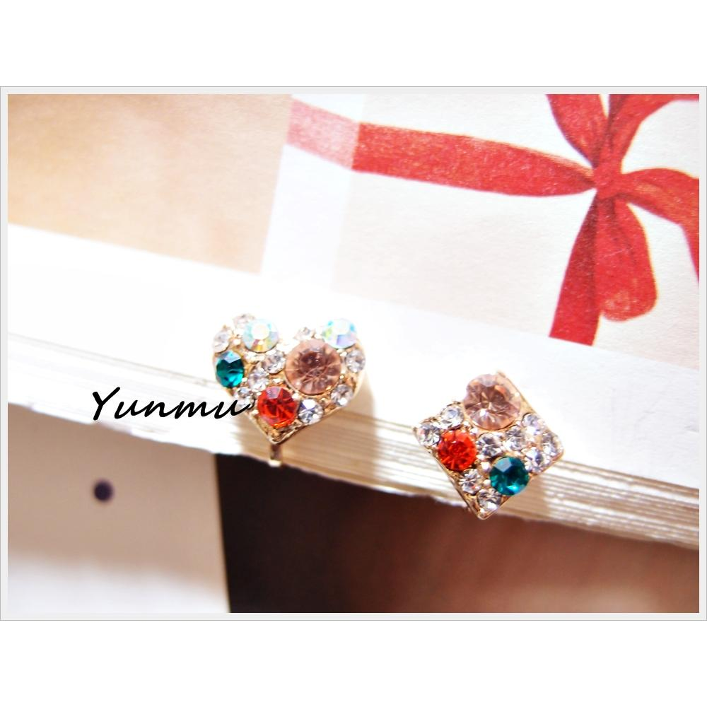 Yunmu 1207N4ER02503 閃鑽不對襯愛心菱型無耳洞耳環耳夾式