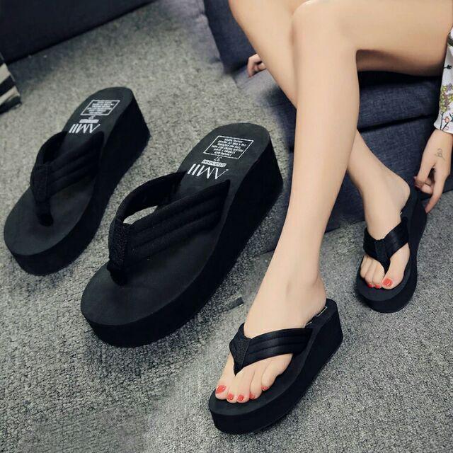 厚底夾腳坡跟拖鞋
