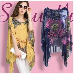襯衫印花圖案雪紡女士襯衫蝙蝠袖襯衫上衣4 顏色女襯衫女性和服