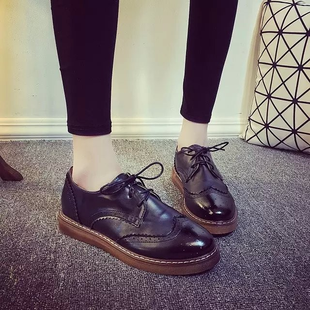 黑色布洛克雕花小皮鞋英倫學院風日系女鞋復古平底中性單鞋牛津鞋