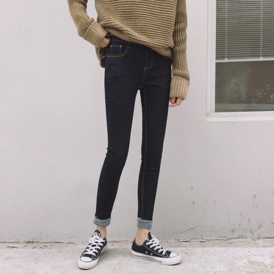 顯瘦 反折牛仔褲小腳褲 修身顯瘦百搭鉛筆褲九分褲工業風車線11 1