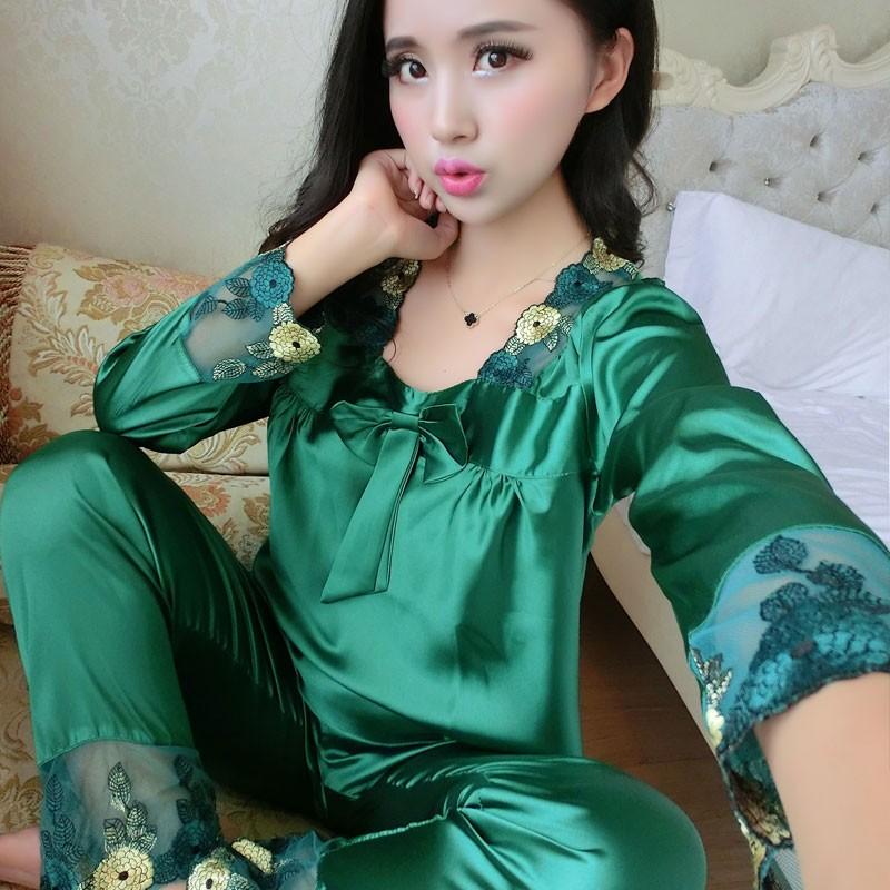 女神絲綢睡衣女 兩件套長袖真絲 性感春 家居服12603