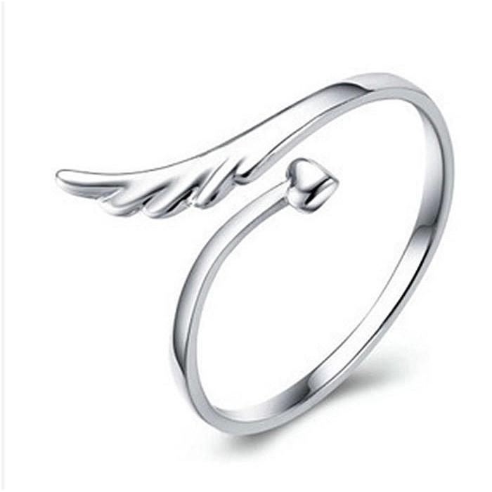 日韓 館天使翅膀開口指環 飾品潮女款可愛戒指韓國新品愛心開口可調戒指韓系首飾  銀飾品尾戒