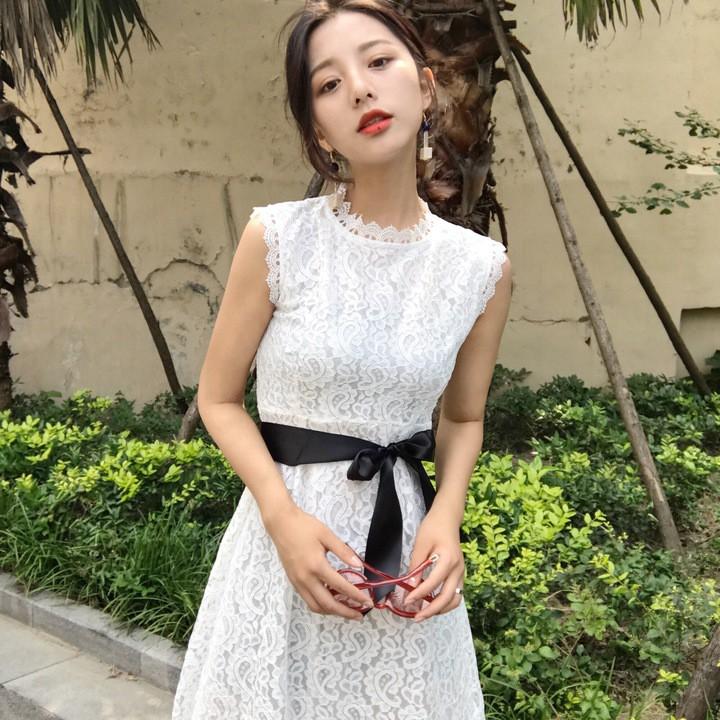❤ 實拍❤2017 夏 蕾絲大碼女裝蕾絲洋裝連衣裙顯瘦淑女蕾絲修身長裙拼接仙白色連衣裙背心