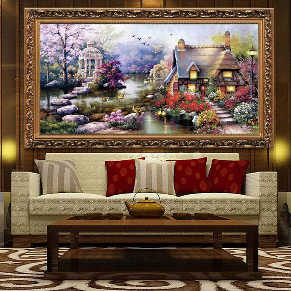 DIY 繡十字繡手作迷印花刺繡套件布藝畫作精密印刷花園別墅圖案 居家裝飾佈置客廳臥室
