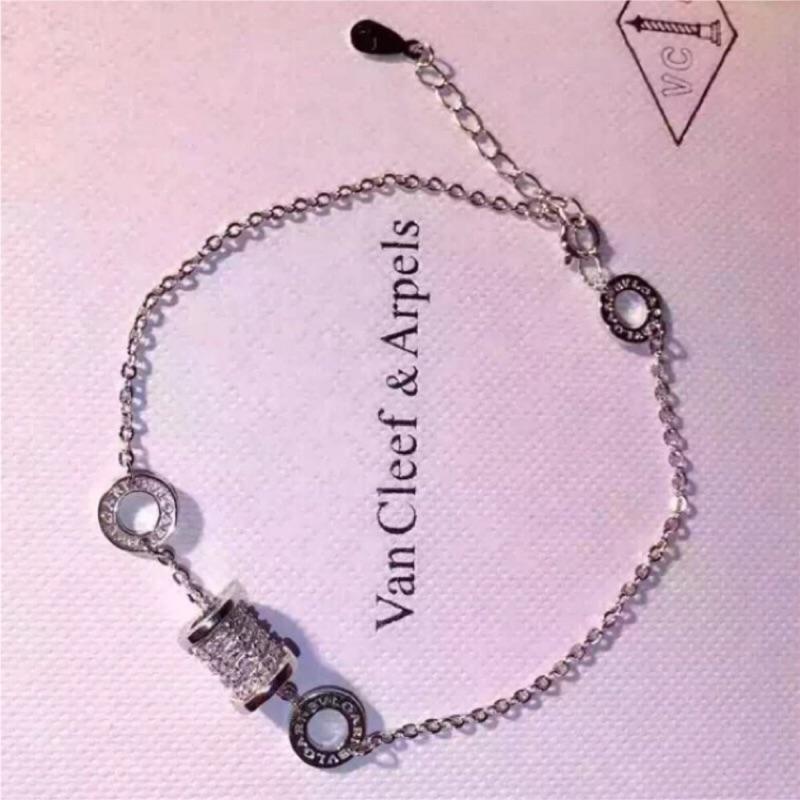 925 純銀A 級寶格麗Bulgari 同款微鑲鑽白金項鍊手鍊情人節生日 V7584