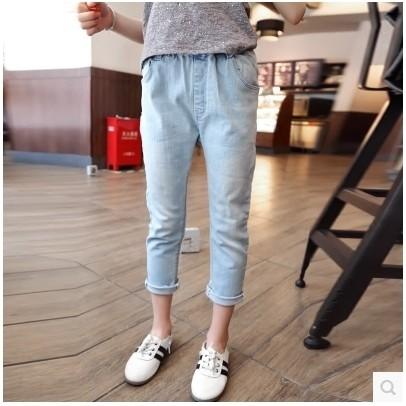 女童磨白彈力薄款牛仔褲小腳褲鉛筆褲九分褲