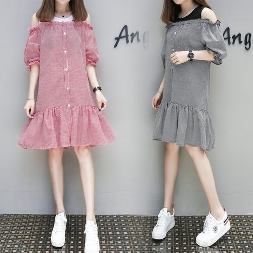 XL 5XL 加大 ❤ 價❤女生大碼衣著露肩圓領撞色拼接荷葉邊中長款連身裙正韓洋裝胖MM