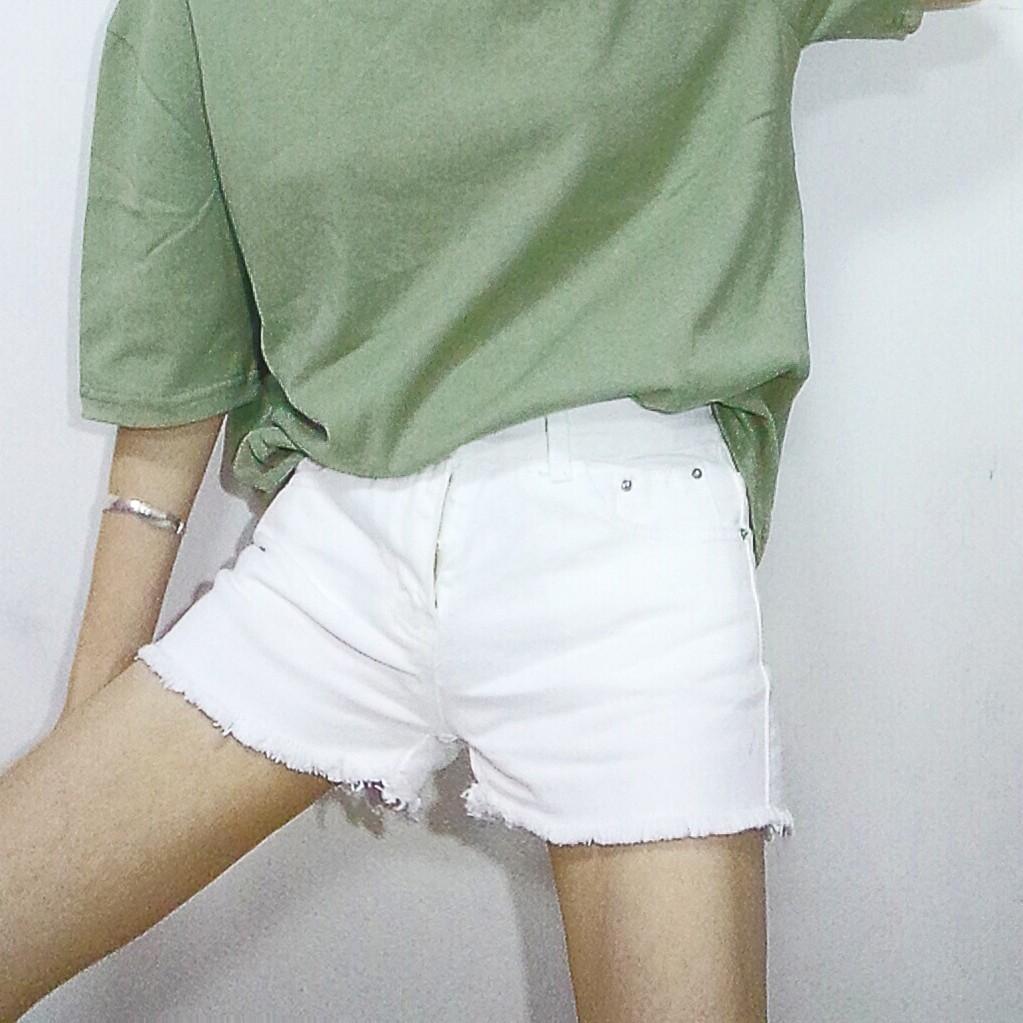 實價實拍簡單顯瘦純色白色破須須毛邊牛仔短褲子熱褲潮流女生 短褲