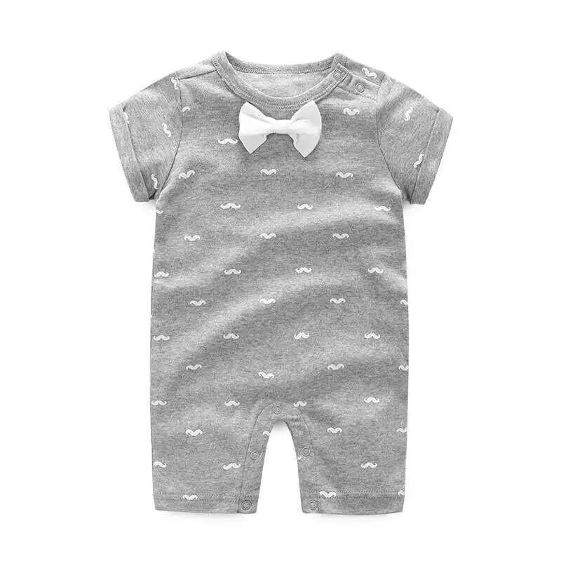 男Baby 男童短袖連身衣可愛小鬍子印花純棉連身衣 灰色出口