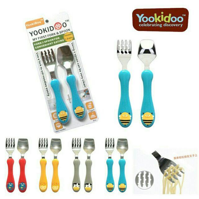 美國yookidoo 愛動物園安全兒童不銹鋼湯叉套裝寶寶學習訓練筷餐具不鏽鋼湯叉組