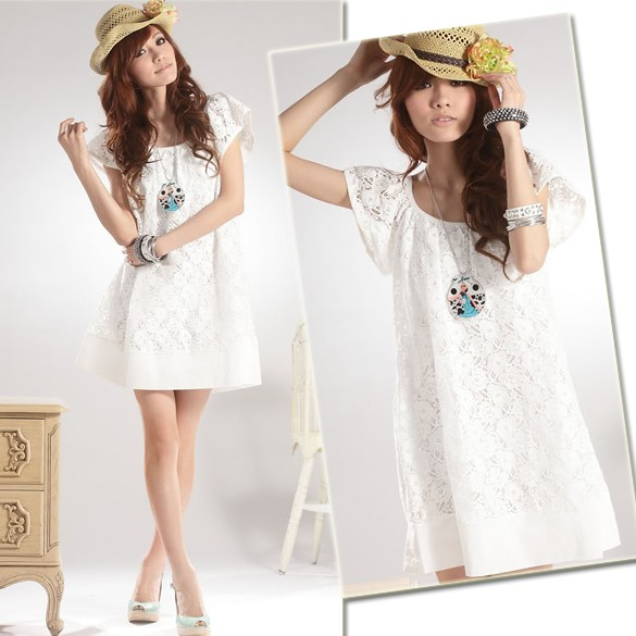 迷你連身裙氣質洋裝淑女休閒圓領白色蕾絲花網連衣裙
