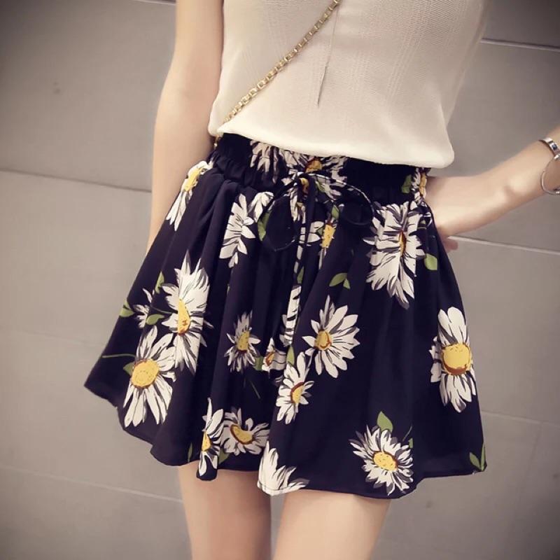寬鬆印花碎花朵鬆緊腰雪紡裙褲薄款短褲女