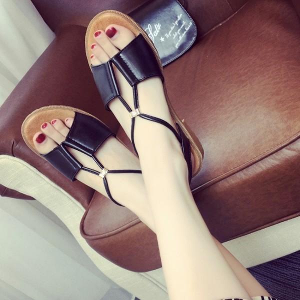 夏日平底水鑽魚口簡約百搭素面涼鞋沙灘鞋平底鞋羅馬鞋