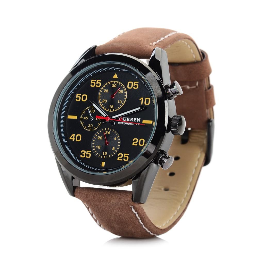 CURREN 8156 皮帶手錶(棕帶黑殼黑面)