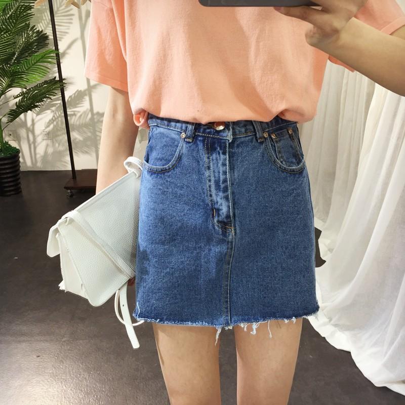 韓國爆款高腰顯瘦修身流蘇學院風半身裙短裙女學生牛仔裙