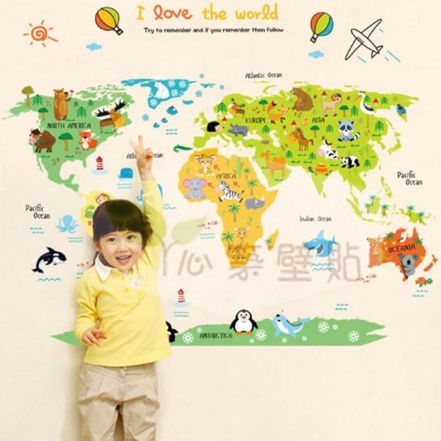~心築壁貼~~JM1049 世界地圖ABC1049 ~第 不傷牆面重覆撕貼牆貼壁貼