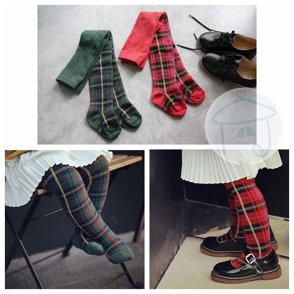 英倫風兒童褲襪保暖純棉針織格紋格子蘇格蘭