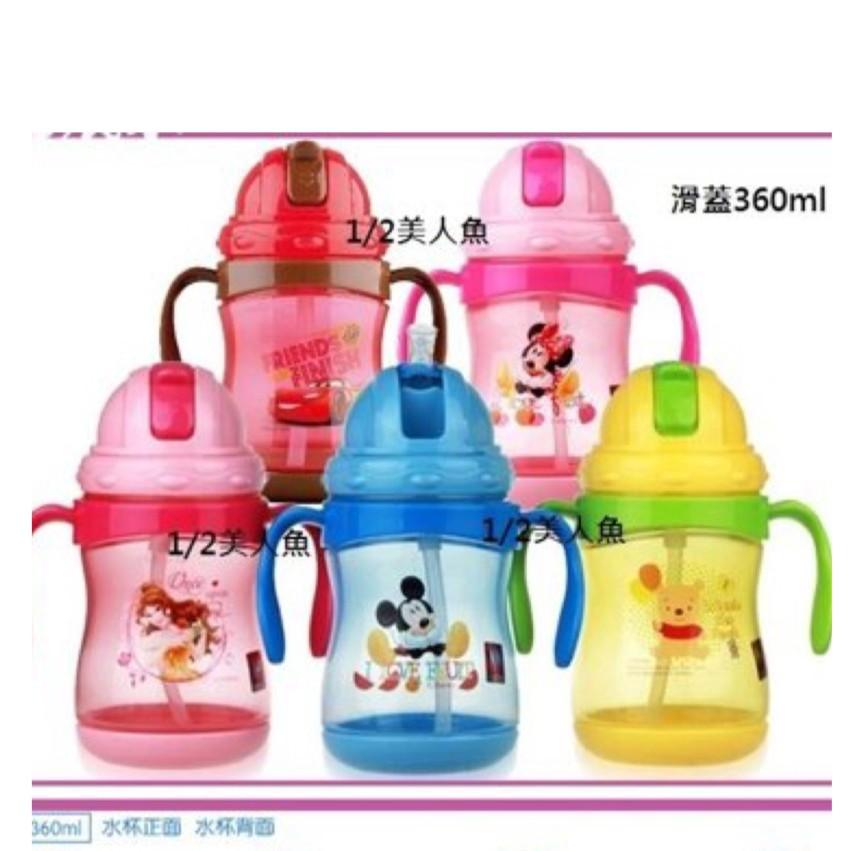 1 2 美人魚迪士尼公主貝兒汽車麥坤米奇米妮小熊維尼新品360ML 兒童手把水杯滑蓋吸管水