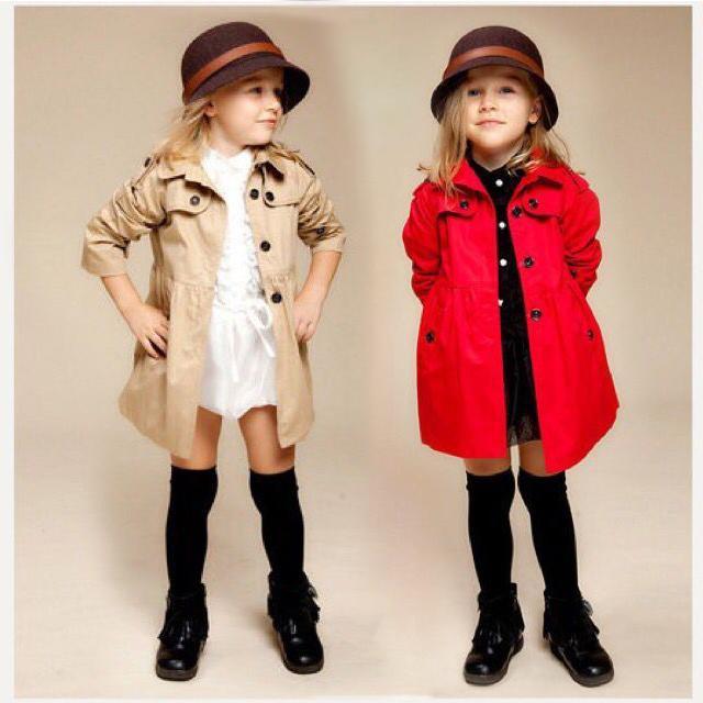 110 碼(薄外套)女童兒童風衣女孩中長外套秋裝