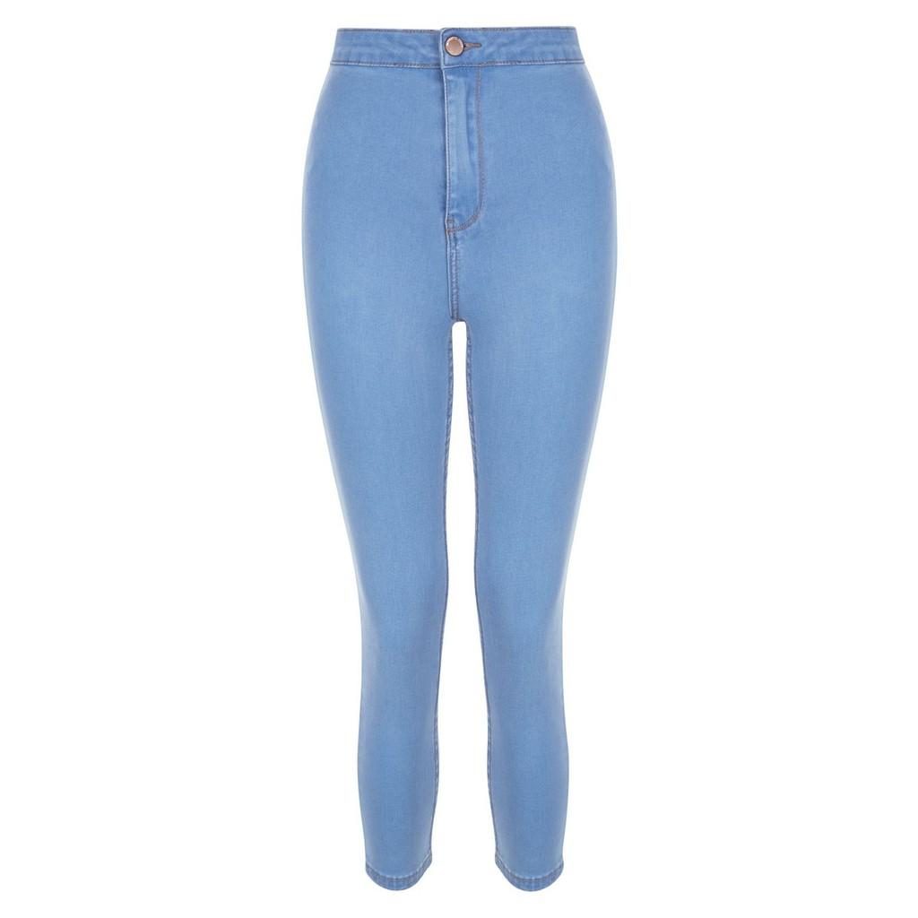 英國淺色高腰彈性牛仔褲