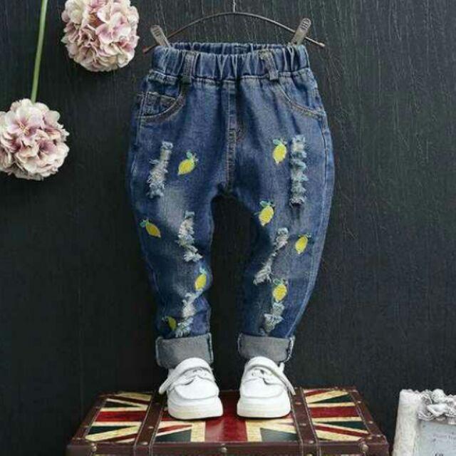 秋裝  男女童潮流破洞刺綉水果牛仔褲寶寶兒童長褲