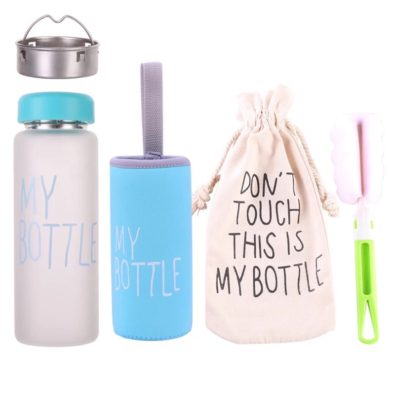 ✅ 霧面玻璃水杯五色送杯刷子杯套杯提袋茶隔my bottle