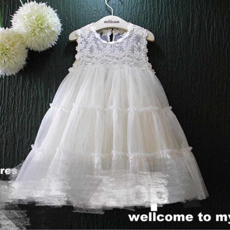 夢幻公主刺繡蕾絲澎澎紗網無袖小洋裝連身裙小禮服(白)