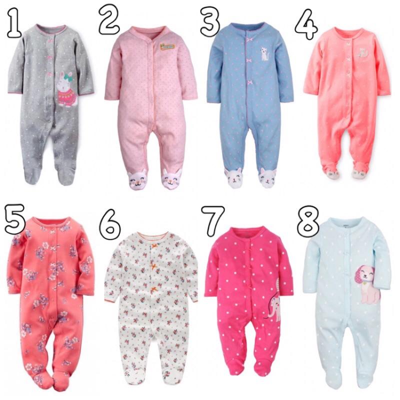 11 月 活動卡特嬰兒寶寶新生兒 可愛長袖包腳兔裝連身衣小貓大象小狗碎花