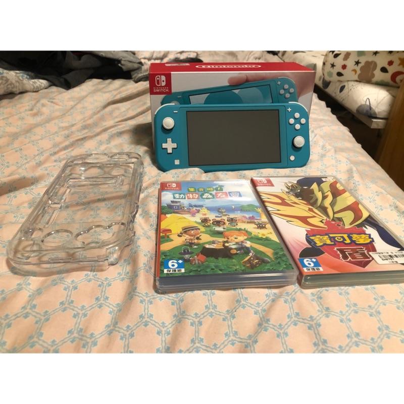 二手Nintendo Switch Lite台灣公司貨+動物森友會+寶科夢盾版