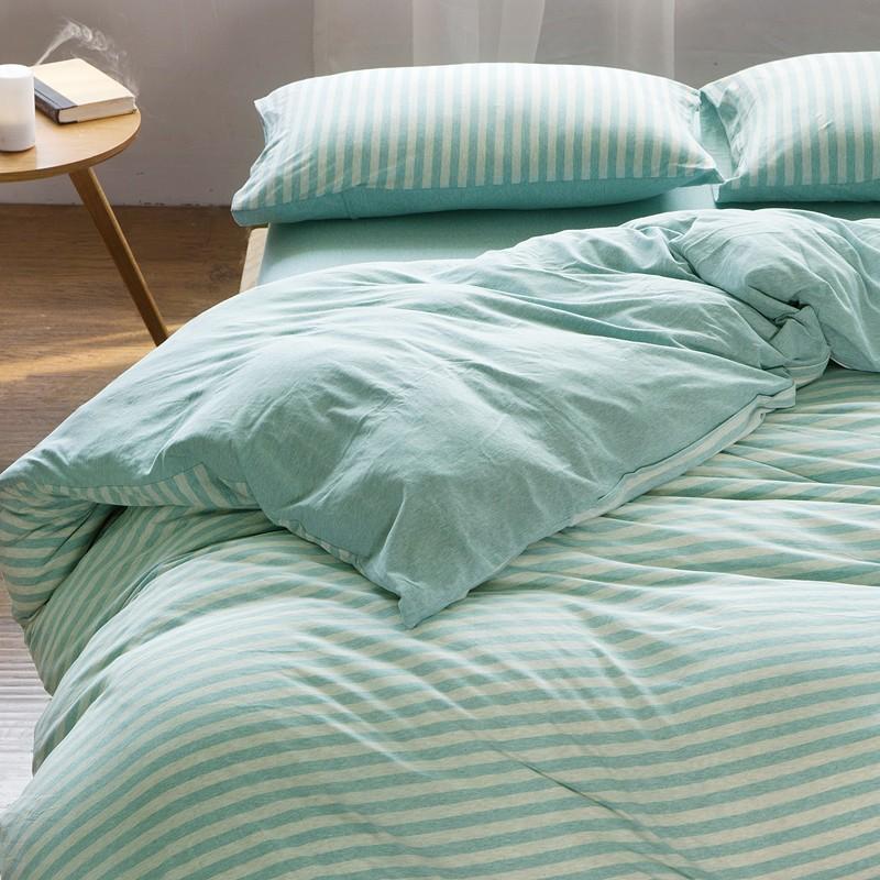 懷舊小舖天竺棉四件套純棉簡約條紋床單被套針織棉全棉床笠床上用品