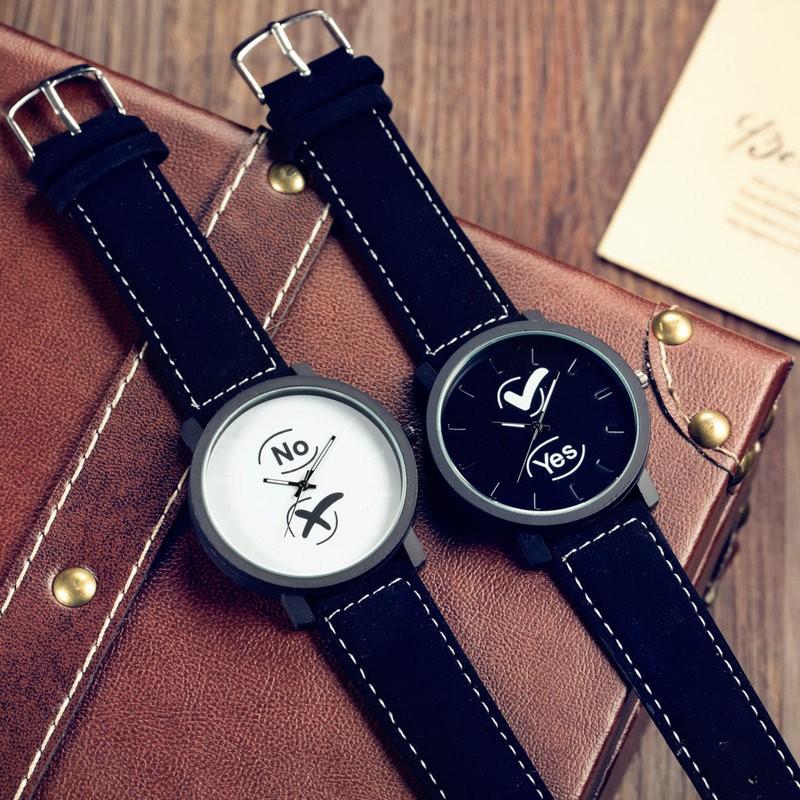 yes no 簡約休閒潮流 原宿復古風情侶對錶 學生手錶