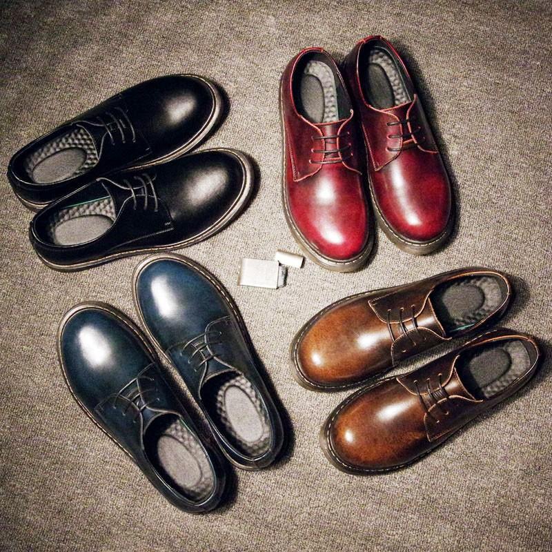 ☩潮男 ☩商務皮鞋n n  馬丁鞋真皮圓頭皮鞋英倫男鞋低幫大頭鞋情侶款工裝鞋
