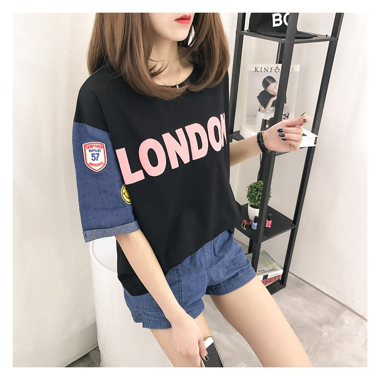 L21 實拍正韓洋裝春夏 刺繡大 牛仔拼接短袖t 恤女寬鬆韓國半袖上衣潮