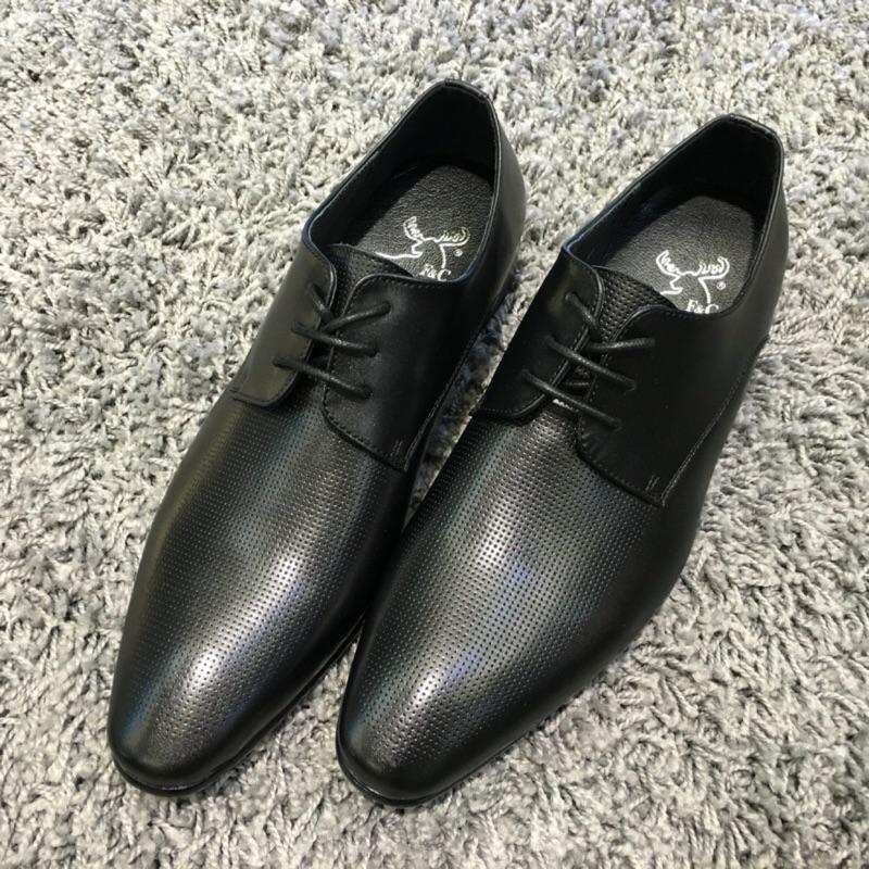 小尖頭透氣內牛皮 車線氣墊軟皮木跟皮鞋西裝正裝可穿 1580 元 1280 元