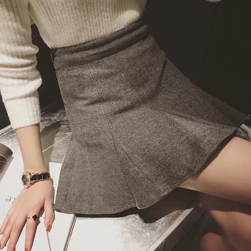 修身顯瘦魚尾下擺毛呢包臀裙短裙