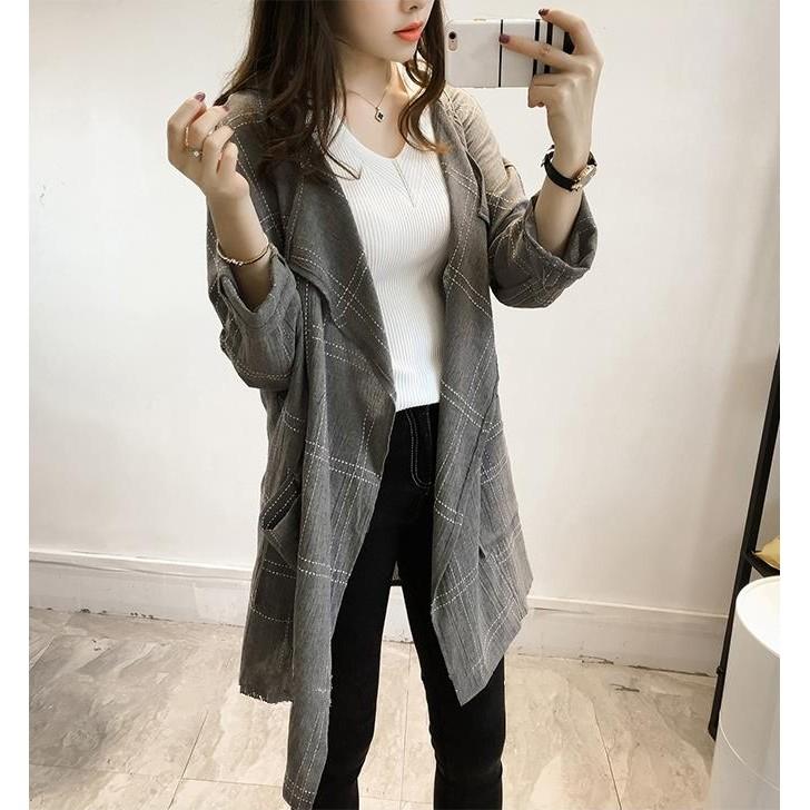 a9021 2016 秋裝 寬鬆明線西裝領格子中長款長袖開衫外套開襟外套長版外套寬鬆寬版
