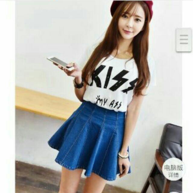 韓國牛仔百褶裙短裙女高腰蓬蓬裙學院風單寧傘裙A 字裙