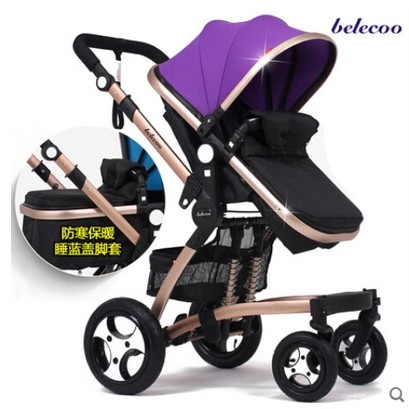 Belecoo 買即送 餐盤2016 貝麗可嬰兒推車高景觀可坐可躺雙向冬夏兒童手推車雙人嬰