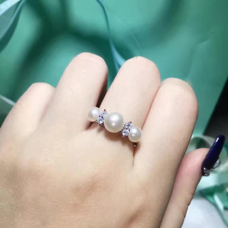 有實戴影片S925 純銀戒指蒂芬妮Tiffany 同款施華洛世奇水晶方鑽石珍珠指環聖誕節情