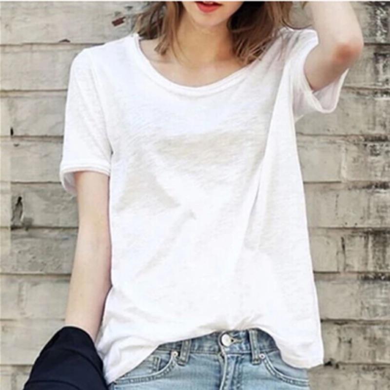 ( ) 街拍風竹節棉寬鬆圓領短袖純色T 恤